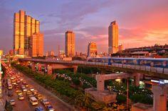 Bangkok Skytrain at sunset.