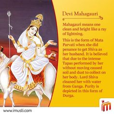 Day 8 of Navaratri: the form of goddess is called #Mahagauri. This is the form of Maa #Parvati when she did penance to get #Shiva as her husband. Purity is depicted in this form of #Durga.