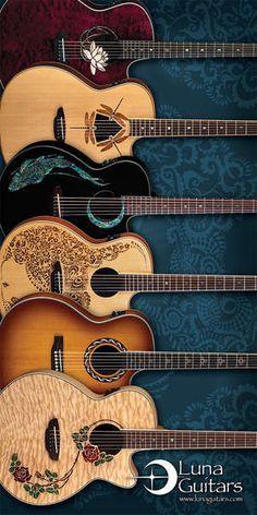 6 acoustic Luna Guitars/Models shown are (top) Flora / Lotus; SIM TO Muse /Burst but dif rosette + cutaway; Guitar Art, Music Guitar, Guitar Chords, Cool Guitar, Playing Guitar, Violin, Acoustic Guitars, Guitar Tattoo, Sound Of Music