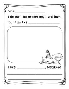 Seuss Green Eggs and Ham: Here is a Dr. Seuss Green Eggs and Ham simple opinion writing prompt. Two options available. Dr. Seuss, Dr Seuss Week, Dr Seuss Activities, Writing Activities, Sequencing Activities, Preschool Themes, Dr Seuss Crafts, Dr Seuss Birthday Party, Kindergarten Writing