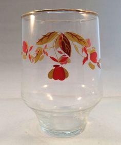 "Hall Autumn Leaf Tumbler 13 oz Glass 4 1/4"" Clear Gold Rim Drinking Glassware #HallChina"