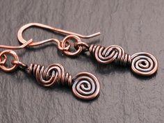 copper wire wrap spiral earrings