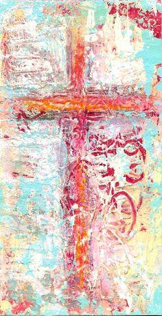 Folk Art CROSS, Textured, Created on Cardboard, Whimsy, Acrylic Original Painting