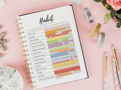 Bullet Journal Notebook, Bullet Journal Layout, Bullet Journal Ideas Pages, Bullet Journal Inspiration, Bullet Journal Habit Tracker, Goal Journal, Bullet Journals, Printable Day Planner, Routine Printable