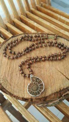 Oak Tree Beads, Wooden Beads, mala necklace, mala beads, ammonite, ammonite fossil pendant, rosary, boho chic, bohemian, Gift for Women