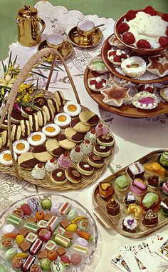 c. 1950s color vintage photo: Fancy Cakes and Cookies.