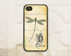 Dragonfly phone case iPhone 4 4s 5 5s Samsung Galaxy S3 S4, Vintage ephemera, Shabby chic, Dragonfly personalized phone case V1128