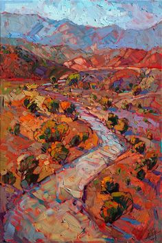 New Mexico Wash - Modern Impressionism Paintings by Erin Hanson | Original Expressionism Oil Paintings for Sale | California Impressionist Landscapes