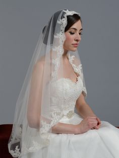 Mantilla veil fingertip/chapel alencon lace wedding veil V027; chapel length = $70.00