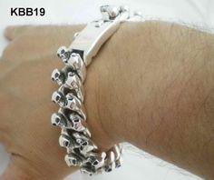 kbb19 Mens Silver Skull Bracelet. Chunky, Heavy & Totally Unique