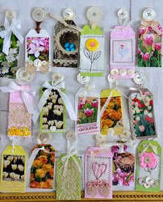 Spring scrapbook paper gift tags by Jeanne Selep
