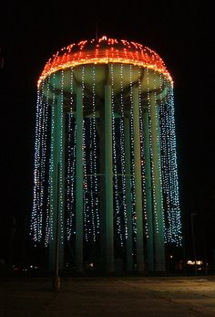 Water Tower Lights - photo by JLK Productions (jlkwak), via Flickr;  Christmas lights on a water tower in Alexandria, Louisiana