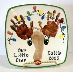 So super cute! Love that the lights are finger or thumbprints too! And our grandson is Caleb. Christmas Crafts For Kids, Baby Crafts, Christmas Projects, All Things Christmas, Winter Christmas, Holiday Crafts, Holiday Fun, Christmas Holidays, Christmas Gifts