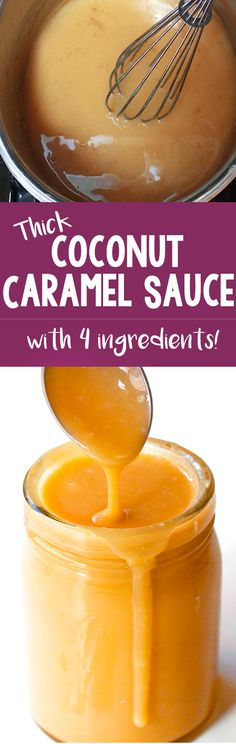 There's NO heavy cream or corn syrup needed for this easy coconut caramel sauce . - There's NO heavy cream or corn syrup needed for this easy coconut caramel sauce recipe! Coconut Caramel Recipe, Caramel Recipes, Vegan Caramel, Coconut Syrup, Coconut Spread Recipe, Canned Coconut Milk, Thick Caramel Sauce Recipe, Caramel Recipe No Corn Syrup, Dairy Free Caramel Sauce Recipe