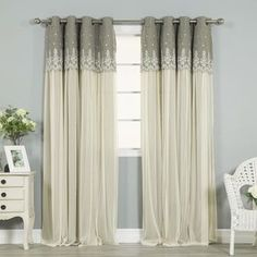 Shop for Aurora Home Grace Lace-overlay Grommet-top Curtain Panel Pair. Get free delivery at Overstock.com - Your Online Home Decor Outlet Store! Get 5% in rewards with Club O! - 19655614
