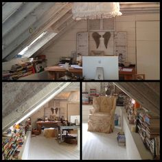 Writing space of Patti Callahan Henry. I like the two work tables and comfy chair and all those books!