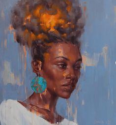 Bun Explosion 💥 Painting on linen cm. Black Girl Art, Black Women Art, Art Girl, African American Art, African Art, Black Art Pictures, Black Artwork, Afro Art, Gif Animé