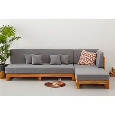 L shape Patio Set SS This Patio wooden sofa L-Shape is made from premium grade Indonesian teak wood. This sofa is suitable for outdoor and indoor . Sofa Set Designs, Wooden Sofa Designs, Wooden Sofa Set, Wood Sofa, Diy Sofa, Living Room Sofa Design, Living Room Designs, Sofa Furniture, Furniture Design