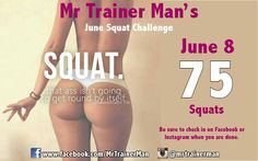 Day 8 beautiful people and I hope you all have been doing squats. If not start today :). 75 Squats and 55 crunches. Do the best you can to finish them all today! I get so many messages about you all wanting a nice ass and flat stomach. Don't just talk about it, put the work in for it! www.MrTrainerMan.com Easy Day!!!