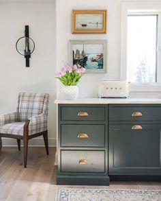 (paid link) dark wood cottage kitchen Dark Grey Kitchen Cabinets, Dark Wood Kitchens, Green Cabinets, Dark Green Kitchen, Kitchen Reno, Kitchen Stuff, Kitchen Ideas, Dark Paint Colors, Kitchen Paint Colors