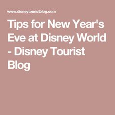 Tips for New Year's Eve at Disney World - Disney Tourist Blog