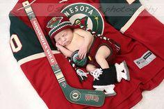 Baby Crochet Hockey Earflap Hat Set in Minnesota by chhunneangs