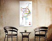 "SYDNEY, Australia Subway Train Metro Map- 20"" x 40"" Original Canvas"