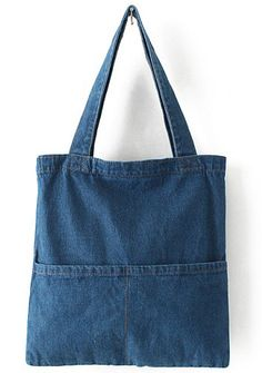 Navy Pockets Denim Bag 13.67