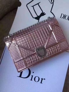 "[Final Sale] Christian Dior mini Pink-tone Metallic ""DIORAMA"" BAG for sale at https://www.ccbellavita.eu/products/christian-dior-mini-metallic-pinkdiorama-bag"