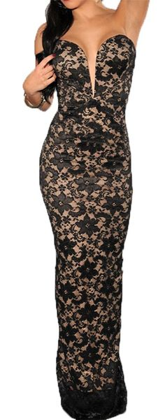 ac312ebd88f64 made2envy Plunging V Neck Lace Nude Illusion Gown (M, Black)   Amazon.