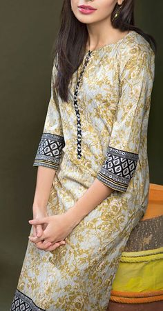 Buy Grey Cotton Dress by Khaadi 2015.