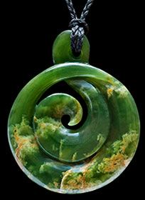 Large flower jade Jade Koru by master carver Ross Crump.             www.boneart.co.nz
