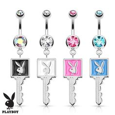 Playboy Bunny Enamel Key 316L Surgical Steel Navel Belly Button Ring, Women's