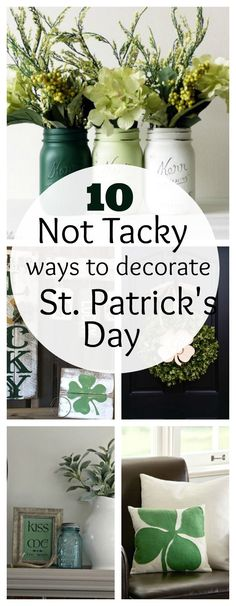 Holiday home decor doesn't have to be tacky!  I love these ideas for St. Patrick's Day.  It takes the beautiful greens of the holiday, and combines them with simple ideas I'd be proud to display in my home!   These ideas are fresh, beautiful, and not expensive at all! 1 Decorate with Jars You could …