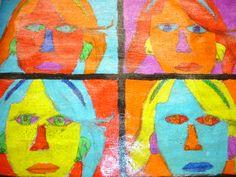 WARHOL (2 sessions) A la primera sessió els alumnes fan un autorretrat. Després l'hem d'imprimir 4 vegades en un full. A la segona sessió utilitzem les ceres de colors vius per acolorir les obres.