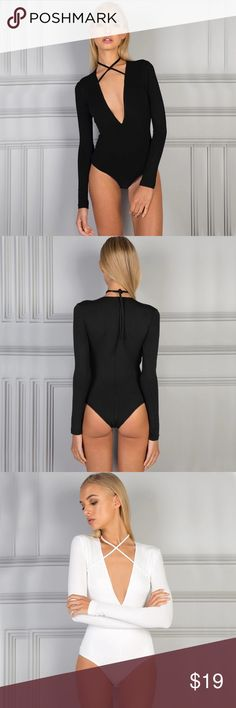 H P · N E W · Bodycon Bodysuit ❤Host Pick❤ Fashion Icon Party 1/30  Color: Black Decoration: Sting Tie Fit Type: Regular Pattern Type: Solid Style: Casual, Dressy Type: Bodysuits Material: Polyester, Spandex  ⚫NOTE⚫ Ok show-stopper! This item is for you!!! This deep V-neck bodysuit will definitely turn heads :) I only have this in black. The white picture is to show string detail. Very good material! Tops