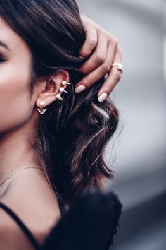Shop VivaLuxury Three pearl ear cuff + diamond & pearl ear jacket
