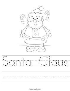 Santa Claus Worksheet from TwistyNoodle.com