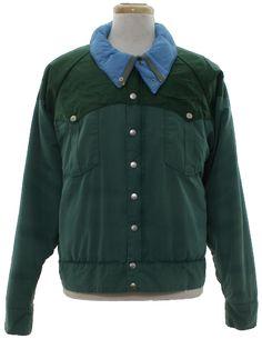 e2acd595aaac Vintage 80s Jacket: 80s -Powderhorn Mountaineering- Mens green background  cotton nylon blend longsleeve