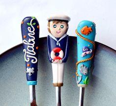 Baby boy Cutlery Set Sailor Boy White Red Navy Blue by RadArtaDesign