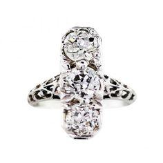 18K White Gold Vintage 3 Stone Diamond Cocktail Ring