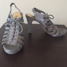 """Grey Suede Antonio Melani Lace Up Sandals Grey suede heels with lace up front. About 3.5"""" heel with .5"""" platform in the front. Elastic slingback. Great condition. 8.5M. ANTONIO MELANI Shoes Sandals"""