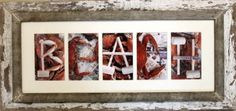 Crab Art by Louise..old barn wood frame, so cool!