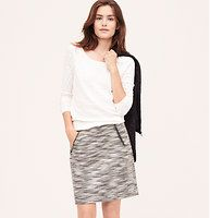 "Tweed Shift Skirt - Slanted zip pockets top off this slubby style, in salt and pepper tweed. Back zip. Lined. 18 1/2"" long."