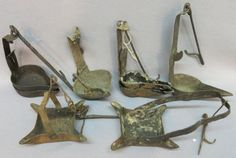 GROUP OF 7 EARLY BETTY TYPE FLUID LAMPS :