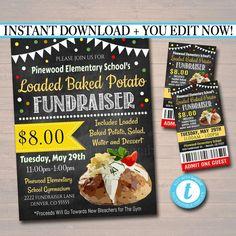 Invitation Text, Invitations, Loaded Baked Potatoes, School Fundraisers, School Snacks, Pta, Shelter, Benefit, Adoption