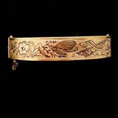 Antique Bracelet / Victorian BEE / enamel bracelet taille d' epergne / September 14 1880 / vintage wedding / Gold hinged floral design