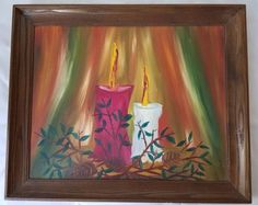 Still Life Painting Two Candle original oil painting on Board Signed #Expressionism