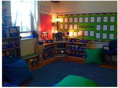 some great classroom library designs, look especially for the more neutral rooms like the one posted above, instead of lots of bright, contrasting colors--similar calming color schemes help to calm classrooms down--Clutter-Free Classroom: Classroom Libraries - Setting Up the Classroom Series