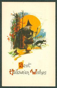 Vintage Halloween Postcard ~ Witch Carrying Cauldron Black Cat Moon